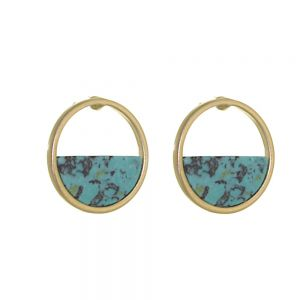 Contemporary Fashion Jewellery: Gold Circle Earrings Half-Filled with Turquoise (1.8cm) (I26)D)