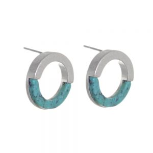 Contemporary Fashion Jewellery:  1.5cm Half Matt Silver and Half Turquoise Circle Studs (I30)B)