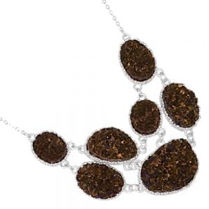 Delicate Fashion Jewellery: Stunning Silver Tone Necklace with Mesmerising Bronze Gold Druzy Oval Pendant Design (I40)B)