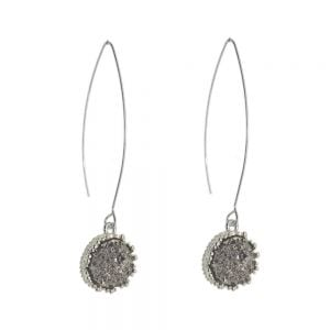 Beautiful Fashion Jewellery: Long Hooked Earrings with Silvery Grey Druzy Stone (5.5cm x 1.2cm) (I27)A)