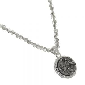 SHIMMER Fashion Jewellery: Grey AB Crystal Necklace with Stunning Silvery-Grey Druzy Pendant (15.5