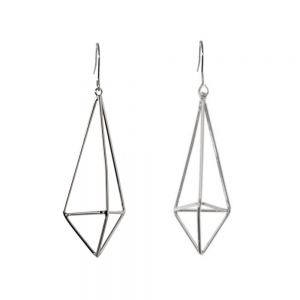 Contemporary Fashion Jewellery: Long 6.4cm 3D Silver Geometric Prism Earrings (M42)S)