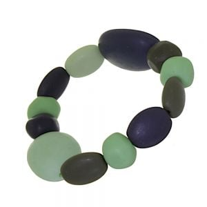 Striking Fashion Jewellery: Dark Navy, Pistachio Green and Olive Green Pebble Stretch Bracelet (SB41)B)