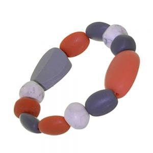 Striking Fashion Jewellery: Orange, Grey and White Pebble Stretch Bracelet (SB41)C)