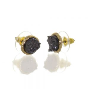 Beautiful Fashion Jewellery: Small and Delicate Hematite Druzy and Gold Tone Stud Earrings [1cm Diameter] (I33)H)