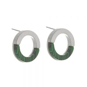 Contemporary Fashion Jewellery:  1.5cm Half Matt Silver and Half Green Malachite Circle Studs (I30)C)