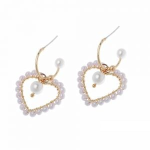 Fabulous Fashion Jewellery: Half-Hoop Earrings with Pearl-Studded Heart Outline Charm in Soft Gold Tone [3.5cm Drop] (M614)