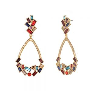 Striking Fashion Jewellery: Beautiful Art-Deco Inspired Stud and Teardrop Earrings in Gold Tone with Rainbow Crystal Detail [7cm Drop] (M610)G)