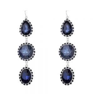 Beautiful Fashion Jewellery: 9cm Dangly Earrings with Large Blue Crystal Teardrops and Ovals (M322)B)