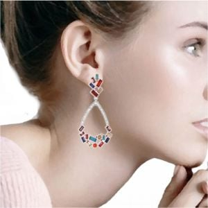 Striking Fashion Jewellery: Beautiful Art-Deco Inspired Stud and Teardrop Earrings in Silver Tone with Rainbow Crystal Detail [7cm Drop] (M610)S)