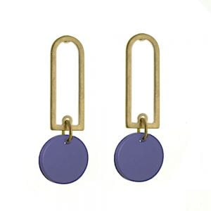 Contemporary Fashion Jewellery: GOLD Rounded Oblong  Earrings with Matt Navy Coin Drops (43mm x 14mm) (I23)G)