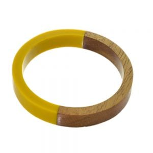 Gorgeous Fashion Jewellery:  Chunky Wooden Bangle in Natural Tone Wood And Yellow Resin (6.8cm Inner Diameter) (SB58)E)