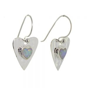 Sterling Silver Jewellery: Hammered Heart Earrings With White Opal Inner Hearts (14mm Long) (E647)