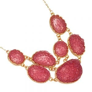 Delicate Fashion Jewellery: Stunning Gold Tone Necklace with Mesmerising Pink Druzy Oval Pendant Design (I40)A)