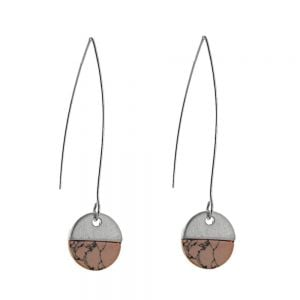 Contemporary Fashion Jewellery: Long Hooked Earrings with Matt Silver and Pink Howlite Coin Drop (5.5cm x 1.2cm) (I29)F)