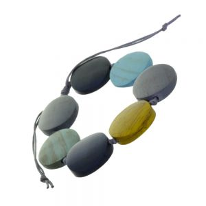 Beautiful Fashion Jewellery: Adjustable Grey Cord Bracelet with Turquoise, Grey and Yellow Wooden Discs (SB45)blu)