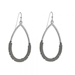 Unusual Fashion Jewellery: Chainmail Wrapped Teardrops in Shiny and Oxidised Silver Tone (Fill Drop: 5.2cm) (I28)A)
