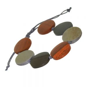 Beautiful Fashion Jewellery: Adjustable Grey Cord Bracelet with Autumnal Orange and Silvery Grey Wooden Discs (SB45)ora)