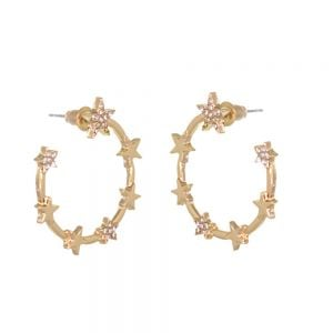 Striking Fashion Jewellery: Large Circular Curve Stud Earrings in Soft Gold with Repeating Star Motif and Crystal Detail [3cm Drop] (M615)