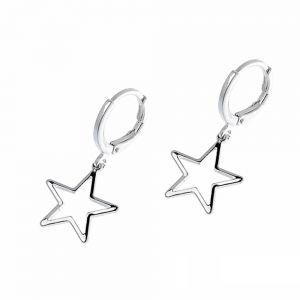 Quirky Fashion Jewellery: Mini Hinged Hoop Earrings with Delicate Star Outline Charm 3cm (M612)
