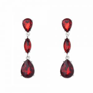 Beautiful Fashion Jewellery: 6cm Red Faceted Crystal Long Drop Earrings (M502)R)