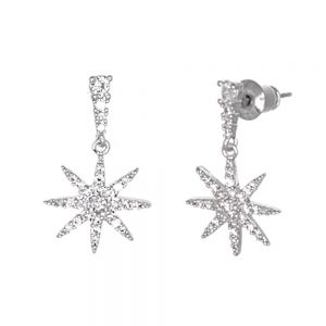 Classic Fashion Jewellery: 2.5cm Delicate and Dainty Crystal Paved Star Design Earrings (M613)