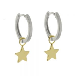Minimalist Sterling Silver: Silver Tiny Hinged Hoop Earrings with Gold Star Charms (13mm x 19mm) (E400)SG)