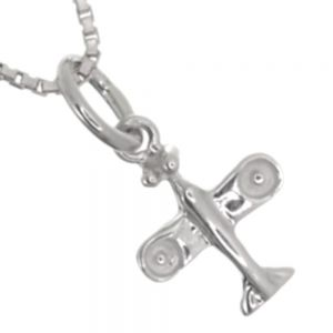 Quirky Sterling Silver Jewellery: Small Aeroplane Pendant (9mm x 17mm) (N310)