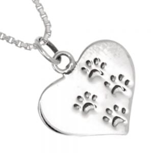 Lovely Sterling Silver Jewellery: 15mm Heart Pendant with Oxidised Pawprints (N51)