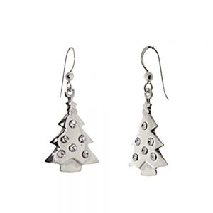 Festive Sterling Silver Jewellery: Christmas Tree Earrings with Tiny Crystal 'Baubles' (17mm x 38mm) (E509)