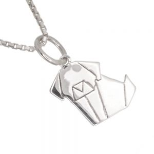 Quirky Sterling Silver Jewellery: Small and Cute Origami Dog Pendant (9mm x 17mm) (N36)