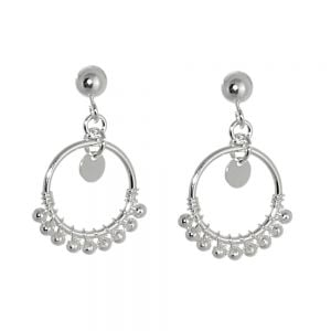 Boho Sterling Silver Jewellery: Circle Drop Earrings with Beaded Detail (15mm x 23mm) (E336)