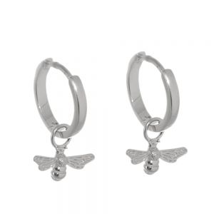 Lovely Sterling Silver: Tiny Hinged Hoop Earrings with Bee Charms (13mm x 19mm) (E680)S)