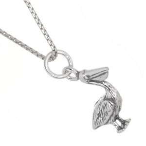 Quirky Sterling Silver Jewellery: Pelican Pendant with Oxidised Detail (12mm x 20mm) (N150)