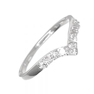 Pretty Sterling Silver Jewellery: Dainty Wishbone Midi or Pinky Ring with CZ Crystals