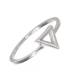 Minimalist Sterling Silver Jewellery: Geometric Ring with Triangle Design