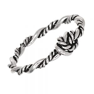 Nautical Sterling Silver Jewellery: Oxidised Rope Ring with 5mm Love Knot