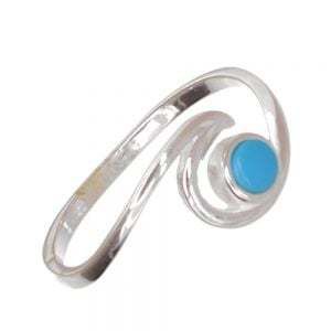 Sterling Silver Jewellery: Ocean Wave Ring with Blue turquiose Stone