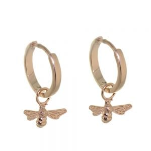 Lovely Sterling Silver: Tiny Rose Gold Hinged Hoop Earrings with Bee Charms (13mm x 19mm) (E680)RG)