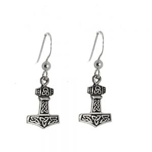 Sterling Silver Jewellery: Oxidised Viking Hammer Mjolnir Earrings with Celtic Symbols (11mm x 29mm) (E59)