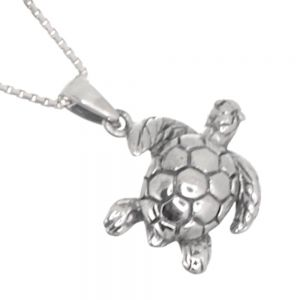 Quirky Sterling Silver Jewellery: Turtle Pendant with Oxidised Detail (17mm x 22mm) (N39)