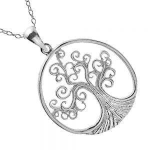Spiralling Sterling Silver Tree of Life Pendant