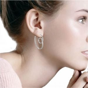 Contemporary Sterling Silver Jewellery: Unusual Curly Ribbon Style Hoop Earrings (30mm) (E418)