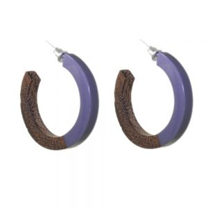 Gorgeous Fashion Jewellery:  3/4 Wooden Hoop Earrings in Natural Tone Wood And Grey Resin (3.5cm Diameter) (SB57)A)