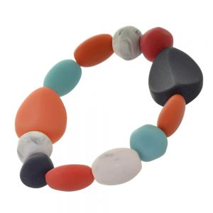 Striking Fashion Jewellery: Sky Blue, Black, Orange, Red and White Pebble Stretch Bracelet (SB41)D)