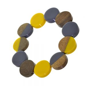 Contemporary Fashion Jewellery:  Stretch Wooden Disc Bracelet in Natural Tone Wood And Yellow and Grey Resin (SB59)B)