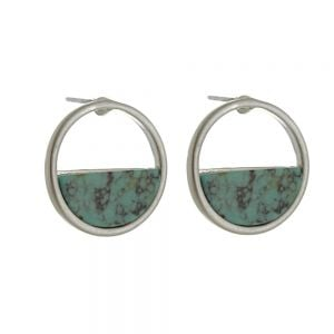 Contemporary Fashion Jewellery: Silver Circle Earrings Half-Filled with Turquoise (1.8cm) (I26)C)