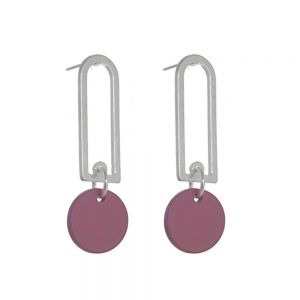 Contemporary Fashion Jewellery: Silver Rounded Oblong  Earrings with Matt Raspberry Pink Coin Drops (43mm x 14mm) (I23)B)