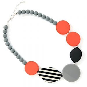 Bold Fashion Jewellery: Contemporary Beaded Necklace with Polka Dot Disc Pendants in Black and Orange Tones (YK355)r)