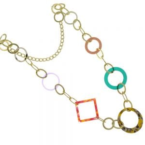 Long Accent of Colour Fashion Jewellery: Gold Tone Hoops Necklace With Multi Colour Resin Geometric Shape(M524)